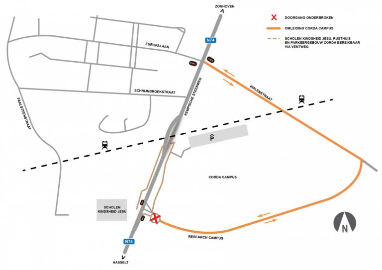 Viaduct Kiewit: Rotonde Corda Campus afgesloten van 1 tot en met 15 juli